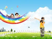 彩虹背景科教類教育行業模板
