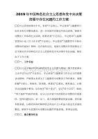 2019年中国特色社会主义思想和党中央决策部署中存在问题的工作方案
