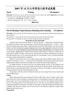 2007年12月英語等級考試——六級真題及答案