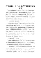 """活动总结范文 环保局2020年""""6.5""""世界环境日宣传活动总结"""