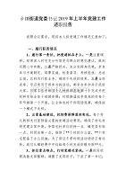 乡镇街道党委书记2019年上半年党建工作述职报告