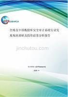 全球及中国数据库安全审计系统行业发展现状调研及投资前景分析报告精品