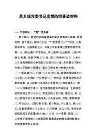 某乡镇党委书记防疫防控事迹材料_范文