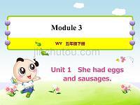 外研版小学英语五年级下册 Module3 Unit1 She had eggs and sausages 教学课件PPT