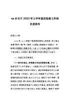 xx乡关于2020年上半年基层党建工作的自查报告