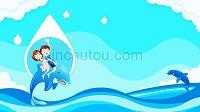卡通風小學生節約用水主題課件PPT模板