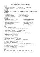 牛津译林版四年级英语下册 Unit 7 单元知识