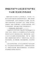 舒城縣不動產中心黨支部【不動產登記中心窗口黨支部工作的總結】