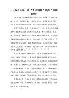 心得體會 學習心得體會 2020兩會心得 讓 工匠精神 照亮 中國品牌